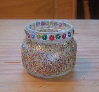 Christmas Glitter Candle Holder from Baby Food Jar