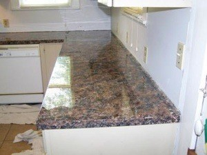 this is a laminate countertop painted to look like granite