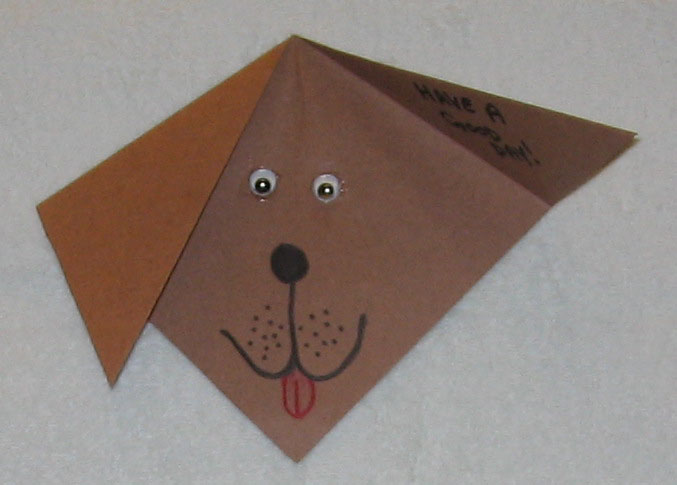 Homemade Dog Valentine's Day Card. Cat Card: Fold a piece of construction